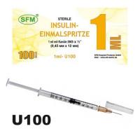 Шприц SFM инсулиновый со съемной иглой 1 мл U100\0,45x12 mm (26G)