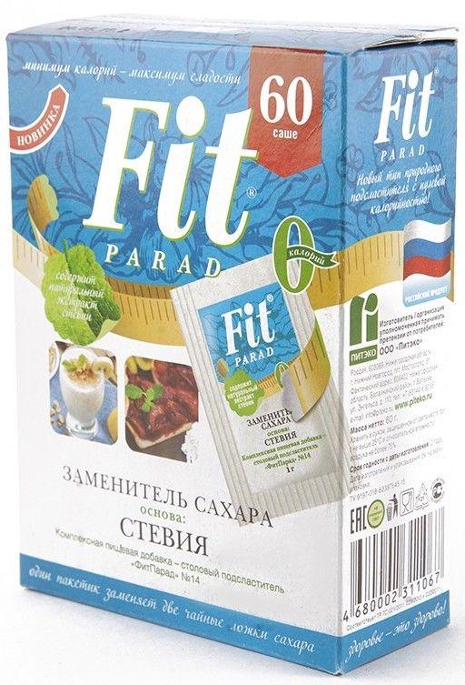 Фит Парад 14 (Fit Parad №14) Сахарозаменитель эритритол/стевиозид (60 пакетиков саше)