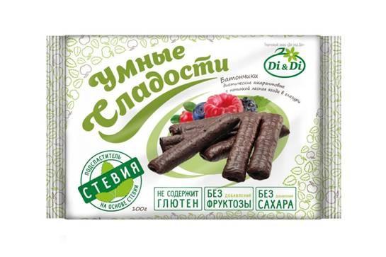 Батончики Di&Di «Умные сладости» на стевии без глютена со вкусом лесных ягод 110 г