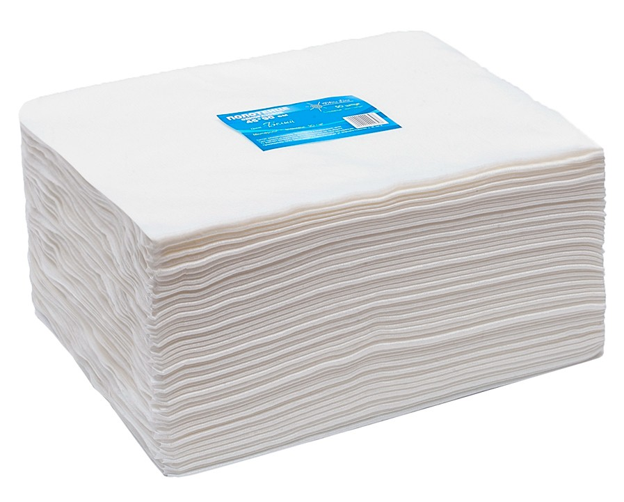 Полотенца (салфетки) 45х90см Спанлейс 40г/м2, белые индивидуально сложенные 50шт