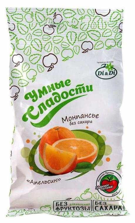 Монпансье Di&Di «Умные сладости» апельсин (без сахара, на стевии) 55гр