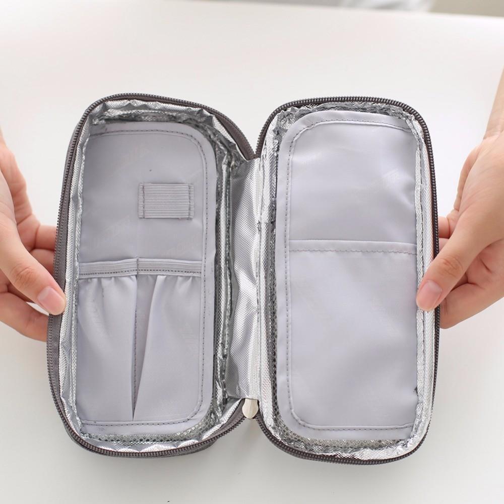 Сумка-термос для инсулина на 5 шприц-ручек серая на молнии (2 гелевых пакета в комплекте)
