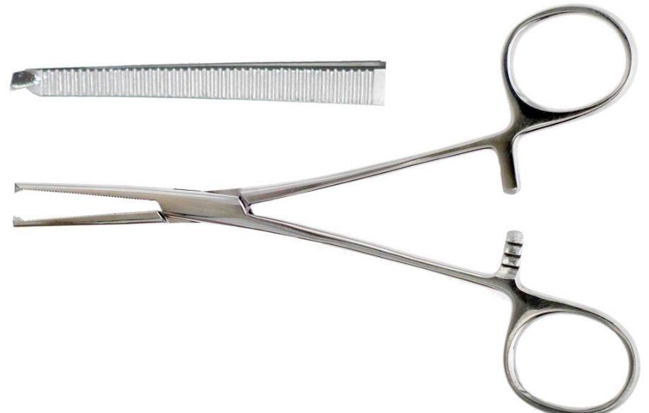 Зажим Kocher (Кохера) 150мм прямой кровеостанавливающий 1-2 зубый арт З-21 (17-372)