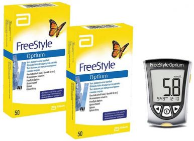 Акция - Freestyle Optium (Фристайл Оптиум) глюкометр + 100 тест-полосок на глюкозу