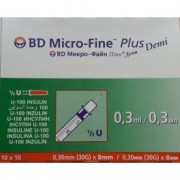 Шприц инсулиновый 0,3 мл BD Micro Fine Plus Demi U100 8,0 мм (пакет по 10 шт)