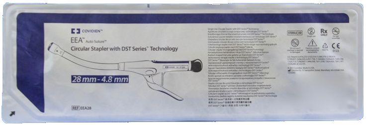 Сшивающий аппарат Covidien (Ковидиен) EEA28 циркулярный одноразовый изогнутый с поворотной головкой (синий, 28мм/4,8 мм)