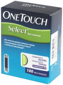 Ван Тач Селект (OneTouch Select) тест-полоски 100 шт