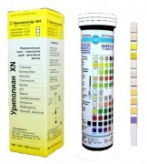 Уриполиан XN-11а тест-полоски на лейкоциты/эритроциты/гемоглобин/кетоны/белок/нитриты/билирубин/уробилиноген/глюкоза/удельный вес/pH (50 шт)