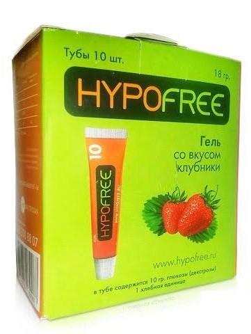 HypoFree (Гипофри) гель в тюбике 0,5 ХЕ вкус клубники (коробка из 10 тюбиков)