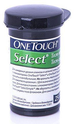 Тест-полоски Ван Тач Селект (OneTouch Select) 25 шт