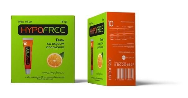HypoFree (Гипофри) гель в тюбике 1 ХЕ вкус апельсина (коробка из 10 тюбиков)
